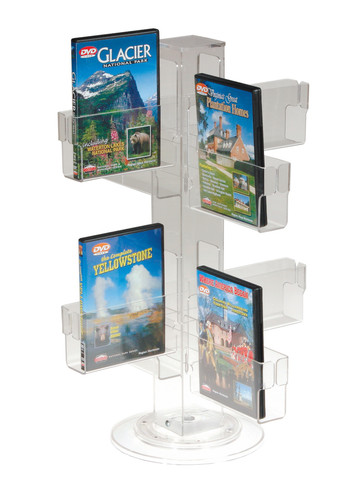 "Clear acrylic countertop spinner for greeting cards and post cards - 10"" space between heights."