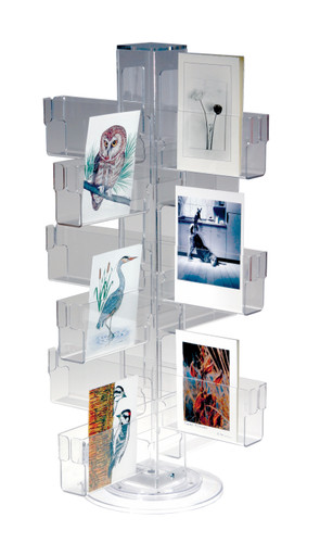 Clear acrylic countertop spinner for greeting cards and post cards - holds 24 dozen cards for display.