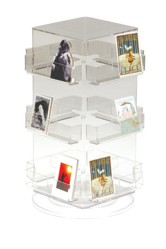 Clear acrylic countertop spinner for small items; perfect for the point of sale.