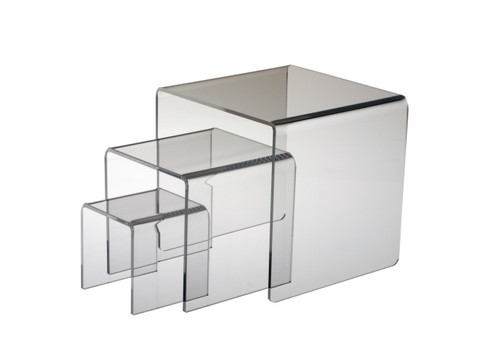 Heavy acrylic risers for retail display.