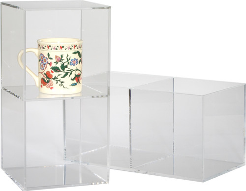 Clear acrylic boxes to use as shelves or holders.