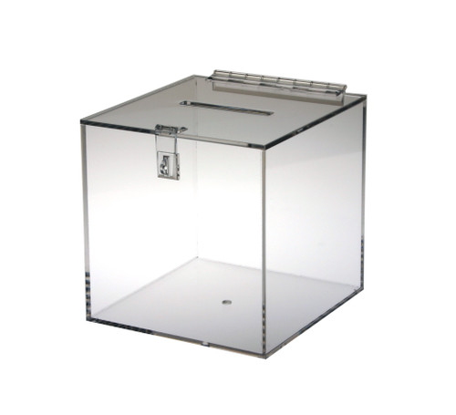 Clear acrylic donation/ballot box.