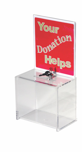 Clear Lockable Acrylic Donation Box with Sign Holder