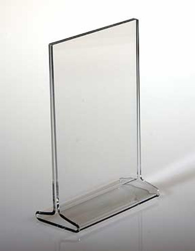 "Top Loading ""T"" Sign Holders are sturdy and quality made of 1/8"" (3mm) acrylic. Display signage in two directions for more impact."