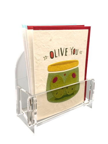 These clear acrylic countertop stands are designed for about a dozen greeting cards with envelopes.