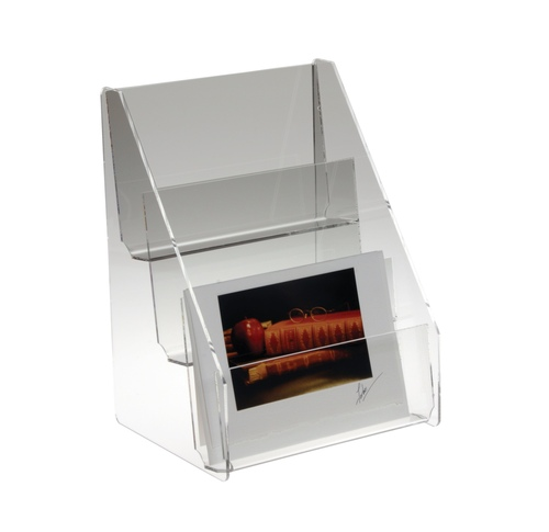 Clear acrylic three tiered card rack for countertop.