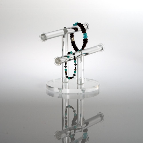 Clear acrylic double T-Bar for bracelets and small accessories.