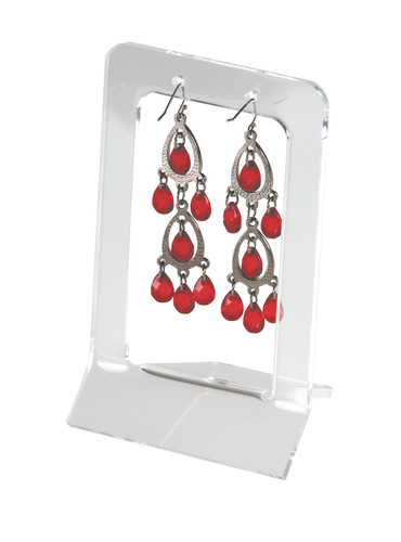 Clear acrylic display for a single pair of earrings.