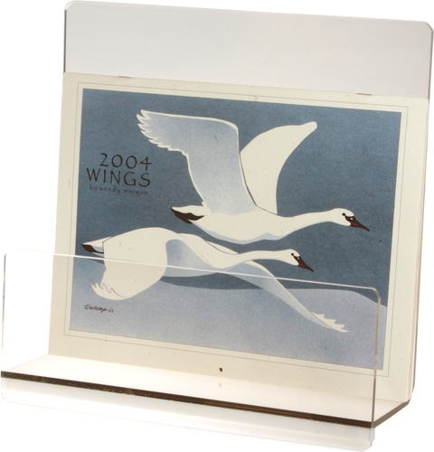 Heavy acrylic display stand for prints, photos, and calendars.