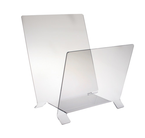 Clear acrylic stand alone bin for display of large prints.