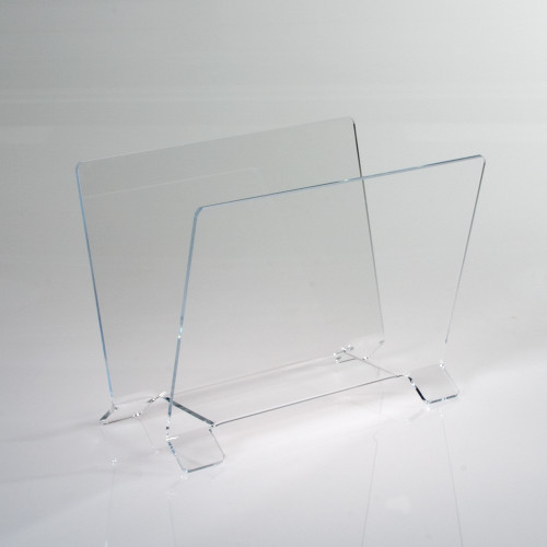 Clear countertop display bin for calendars and small prints.