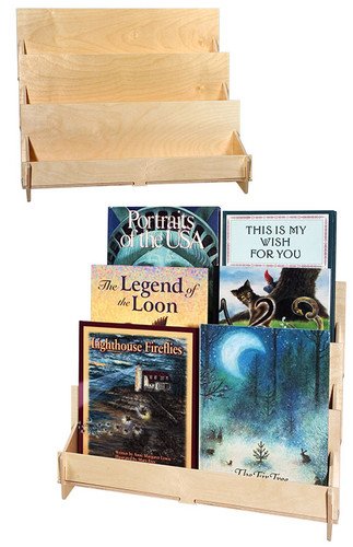 Three level shelf, perfect for greeting cards, postcards, and DVDs.
