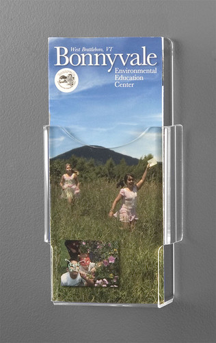 Clear acrylic brochure holder for tri-folds, for regular wall.