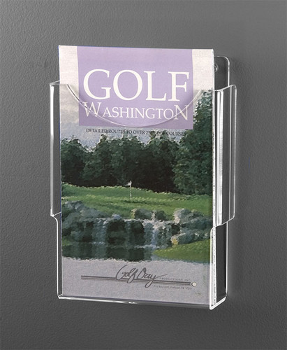 Clear acrylic half-sheet sized brochure holder for wall hanging.