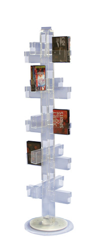 Clear acrylic spinning floor stand with 40 pockets. Floor spinner, pockets with multiple size options.