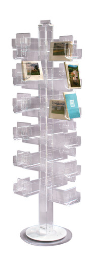 72 pocket clear acrylic floor spinner - perfect for retail greeting and post card sales