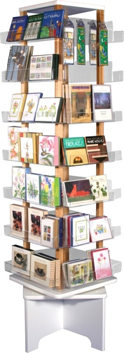 Sturdy, elegant, clear acrylic floor spinner is perfect for displaying greeting cards, postcards, and other items.