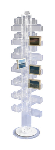 Clear acrylic floor spinner, a space-saving card rack for cards, books, and any number of other items.