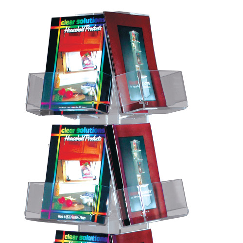 Clear acrylic 20 pocket magazine floor spinner retail display.