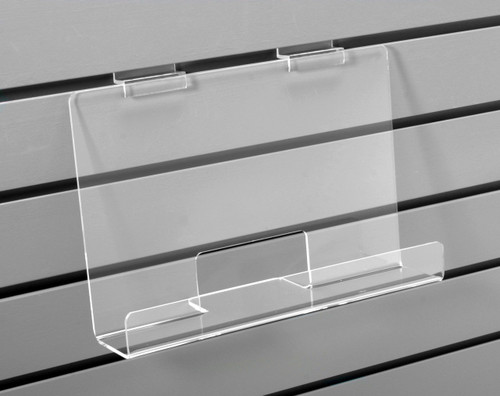 Clear acrylic long shelf for slatwall.