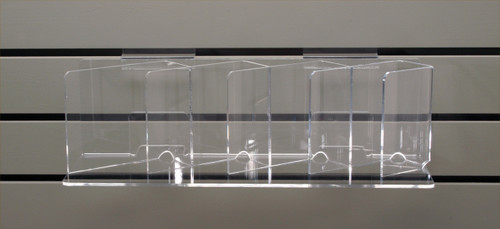 Clear acrylic slotted shelf for slatwall- good for CDs, DVDs, books.