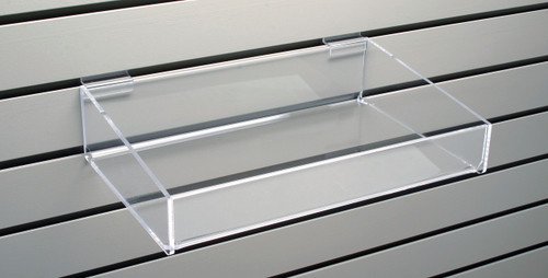 Clear acrylic shelf with sides for slatwall- good for CDs, DVDs, books for small accessories.
