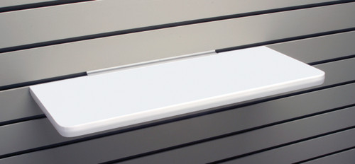 Laminate shelf for slatwall, available in black or white.