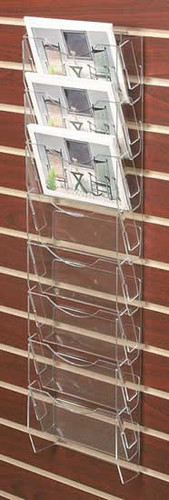 Clear acrylic slatwall mounted postcard/ greeting card rack with eight pockets.