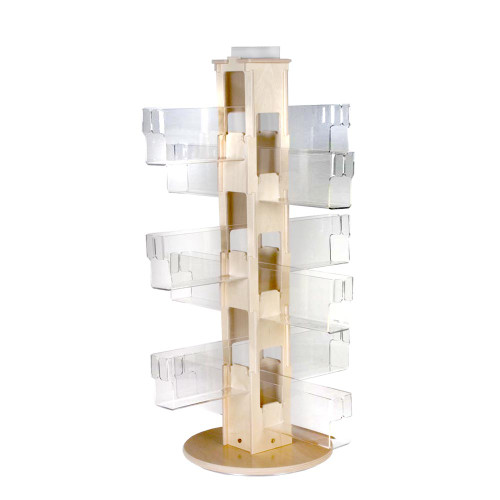 Countertop spinner with clear acrylic pockets and birch wood core for post cards and greeting cards.