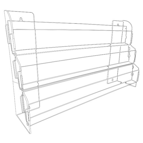 This clear acrylic three tiered shelf with slatwall adaptation is perfect for organizing and displaying DVDs, books, and boxed notecards.