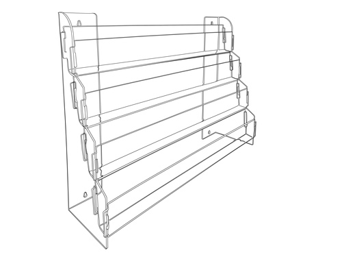 This clear acrylic four tiered shelf for slatwall is perfect for organizing and displaying DVDs, books, and boxed notecards.