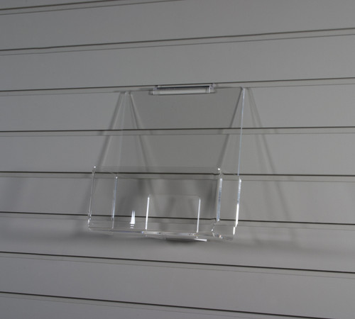Clear acrylic slatwall bin for magazines, brochures, etc.
