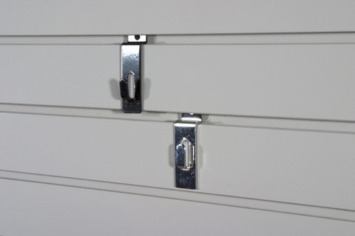 Chrome or black picture hooks for slatwall.