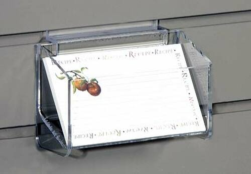 Clear acrylic box sized for recipe cards to display on a slatwall.