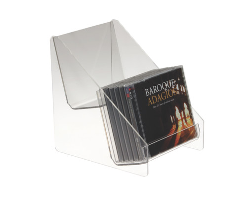 This clear acrylic two-level countertop display is perfect for DVDs, books, or boxed cards.