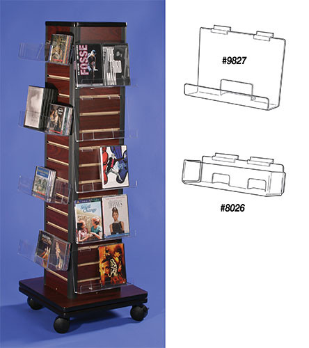 Floor Spinner with slatwall, perfect for any retail space. Great for DVDs, CDs, books, cards, card boxes, and any number of accessories. See diagrams of possible shelves.