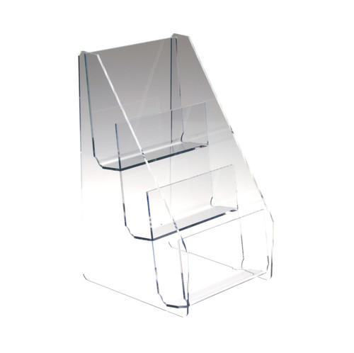 Clear acrylic countertop three tier brochure holder for half-sheet brochures.