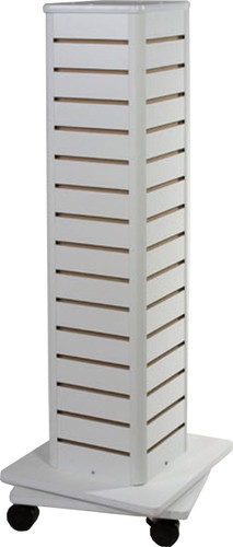 White laminate slatwall spinner core, add accessories to fit what you need.