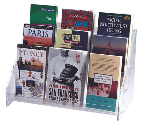 Heavy clear acrylic rack with two shelves for countertop or slatwall.