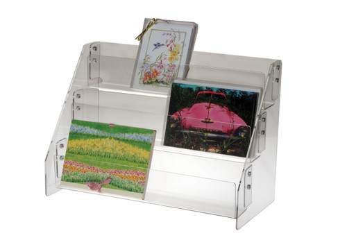 Clear acrylic countertop three tier countertop shelves, sized for greeting card boxes.