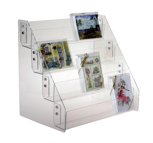 Clear acrylic countertop four tier countertop shelves, sized for greeting card boxes.