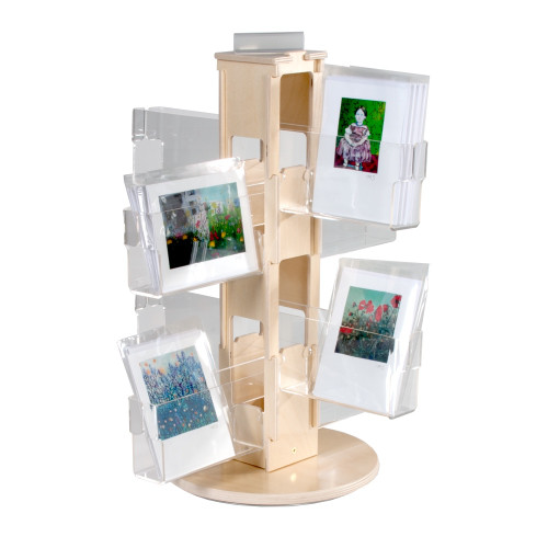 Space saving small birch and acrylic countertop spinner to display greeting or postcards for any retail space. 416