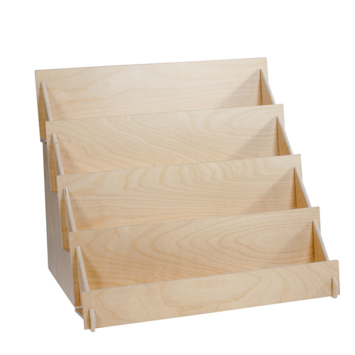 Four level birch plywood countertop shelf.