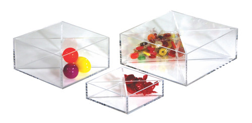 Clear acrylic medium sized acrylic tray with optional dividers.