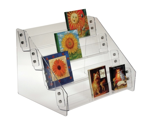 Clear acrylic four-tiered countertop rack for miniature books, tags, and gift enclosure cards.