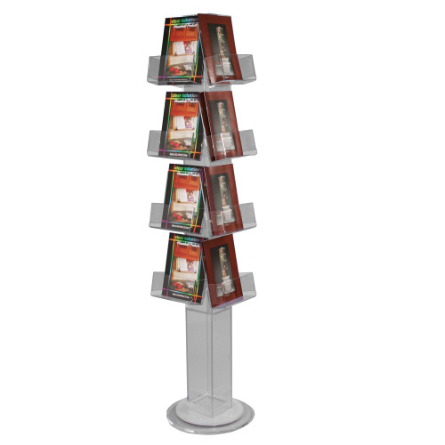Clear acrylic floor spinner with inter-changeable open pockets perfect for displaying CDs, DVDs, journals, books, and gifts.
