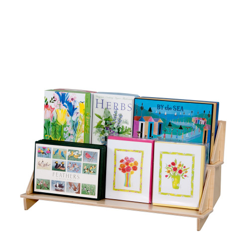 Three two level shelf for countertop, perfect for point of sale retail display.