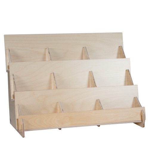 Three level shelf with nine pockets, perfect for greeting cards, postcards, and DVDs.