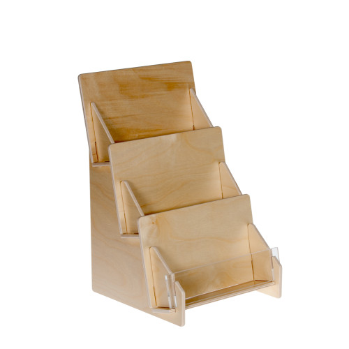 4323 Birch wooden 3 three tier greeting and postcard holder for countertop with clear front