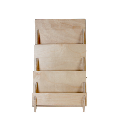 4323 Birch wooden 3 three tier greeting and postcard holder for countertop with plywood front